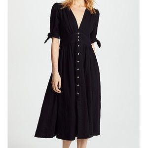 William B Deep V Midi Tie Sleeve Dress